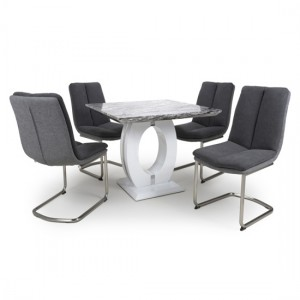 Neptune Square Gloss Grey White Marble Effect Dining Table With 4 Triton Dark Grey Linen Dining Chairs