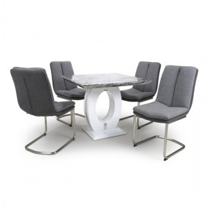 Neptune Square Gloss Grey White Marble Effect Dining Table With 4 Triton Light Grey Linen Dining Chairs