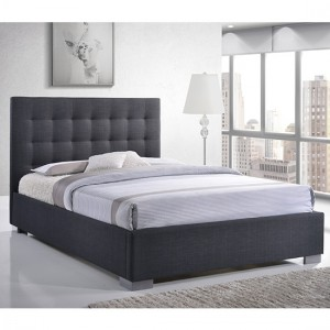 Nevada Fabric Upholstered Double Bed In Grey