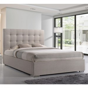 Nevada Fabric Upholstered King Size Bed In Sand