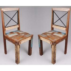 New England Reclaimed Wooden Dining Chair In Pair