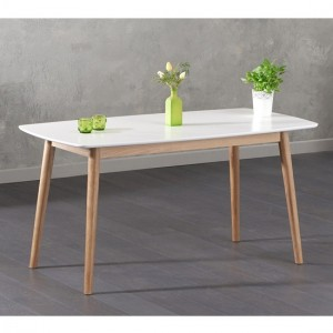 Newark Wooden Dining Table In Oak And White