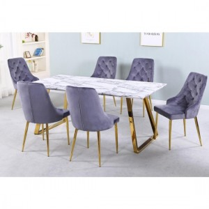 Newchapel Marble Effect Wooden Dining Set With Gold Legs And 6 Chairs