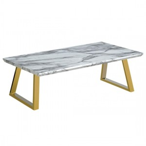 Newchapel Wooden Coffee Table In Marble Effect With Gold Legs