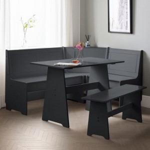 Newport Corner Wooden Dining Set With Storage Bench In Anthracite