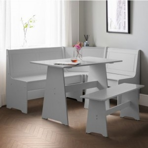 Newport Corner Wooden Dining Set With Storage Bench In Dove Grey