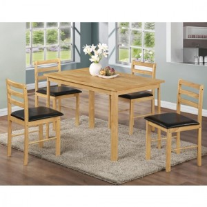 Nice Wooden Dining Set In Natural Oak With 4 Chairs