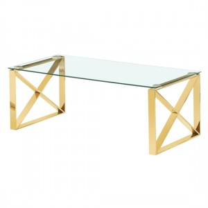 Ningbo Clear Glass Coffee Table With Golden Base