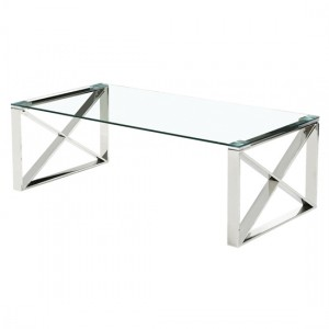 Ningbo Clear Glass Coffee Table With Silver Base