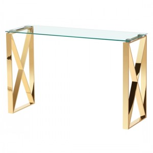 Ningbo Clear Glass Console Table With Gold Legs