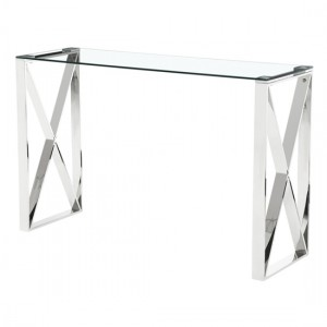 Ningbo Clear Glass Console Table With Silver Legs