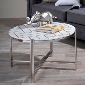 Noida Nickel Coffee Table With White Marble Top