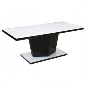 Nora Super White Glass Top Coffee Table With White And Black Base
