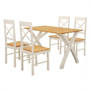 Normandy Wooden Dining Set In White And Oak With 4 Chairs