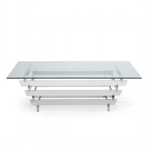 Nova Glass Top Coffee Table With Polished Stainless Steel Base
