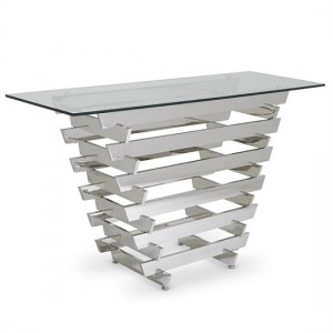 Nova Glass Top Console Table With Polished Stainless Steel Base