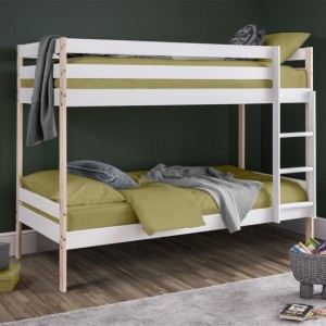 Nova Wooden Bunk Bed In White And Pine
