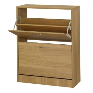 Nova Wooden Shoe Storage Cabinet In Oak With 2 Drawers