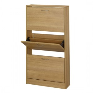 Nova Wooden Shoe Storage Cabinet In Oak With 3 Drawers