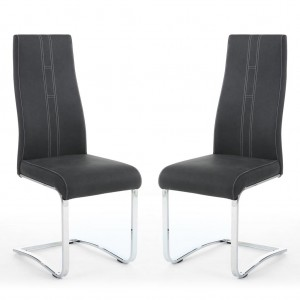 Nova Cantilever Dark Grey Leather Dining Chair In Pair