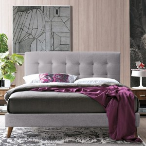 Novara Fabric Upholstered Double Bed In Light Grey