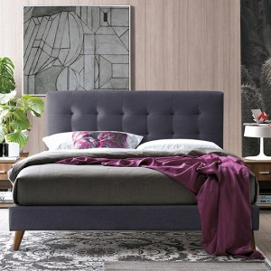 Novara Fabric Upholstered King Size Bed In Dark Grey