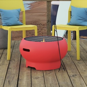 Novogratz Asher Wood Burning Fire Pit In Red