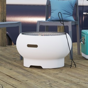 Novogratz Asher Wood Burning Fire Pit In White
