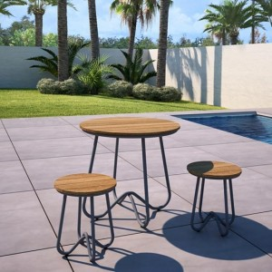 Novogratz Bobbi Bistro Set In Charcoal Grey With 2 Stools
