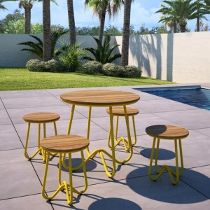 Novogratz Bobbi Bistro Set In Yellow With 4 Stools