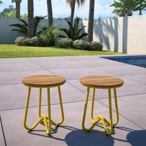 Novogratz Bobbi Set Of 2 Bistro Stools In Yellow