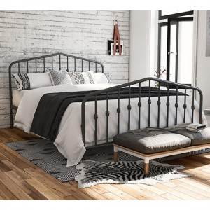 Novogratz Bushwick Metal Double Bed In Grey