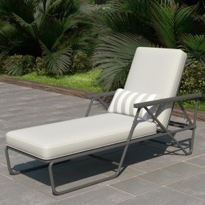 Novogratz Connie Outdoor Chaise Lounge Chair In Grey With Grey Cushion