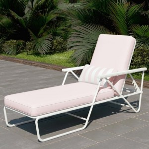 Novogratz Connie Outdoor Chaise Lounge Chair In White With Pink Cushion