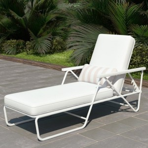 Novogratz Connie Outdoor Chaise Lounge Chair In White With White Cushion