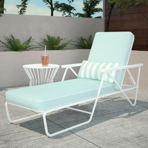 Novogratz Connie Outdoor Chaise Lounge Chair In White With With Aqua Cushion