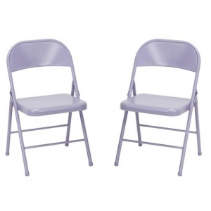 Novogratz Lavender All Steel Folding Chairs In Pair