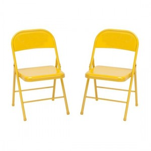 Novogratz Orange All Steel Folding Chairs In Pair