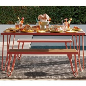 Novogratz Paulette Outdoor Resin Wood Dining Table And 2 Benches In Red