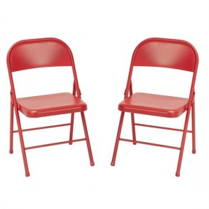 Novogratz Red All Steel Folding Chairs In Pair