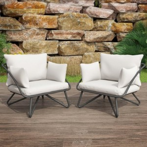 Novogratz Teddi Outdoor Lounge Chairs In Charcoal Grey With Rain Covers