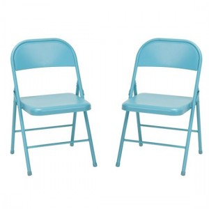 Novogratz Turquoise All Steel Folding Chairs In Pair