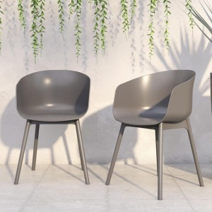 Novogratz York Xl Outdoor Charcoal Resin Dining Chairs In Pair