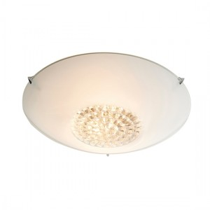 Nya 2 Lights Flush Ceiling Light In White And Clear Glass