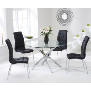 Panama Round Glass Dining Table With 4 Opal Black Dining Chairs