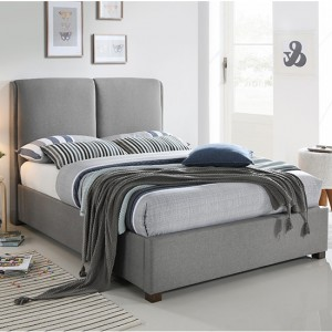 Oakland Fabric Upholstered Double Bed In Light Grey