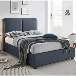 Oakland Fabric Upholstered King Size Bed In Dark Grey