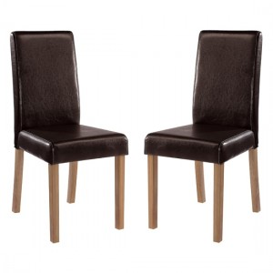 Oakridge Brown Faux Leather Dining Chairs In Pair