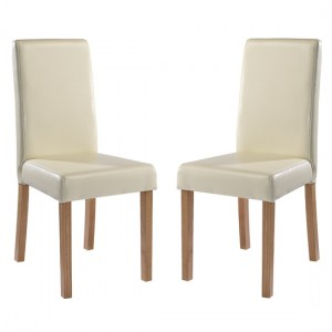 Oakridge Cream Faux Leather Dining Chairs In Pair