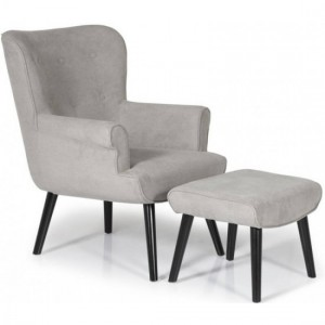 Oban Grey Fabric Armchair With Black Wooden Legs